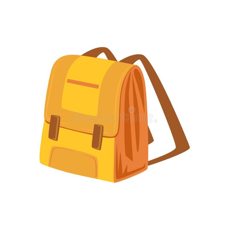 Koloru żółtego I beżu plecaka Szkolna rzecz Od Bagażowej torby kreskówki kolekci akcesoria ilustracji