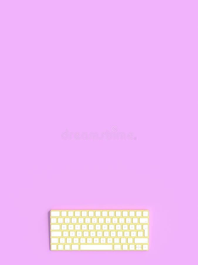 Koloru żółtego i białej komputerowa klawiatura na fiołkowym tle royalty ilustracja