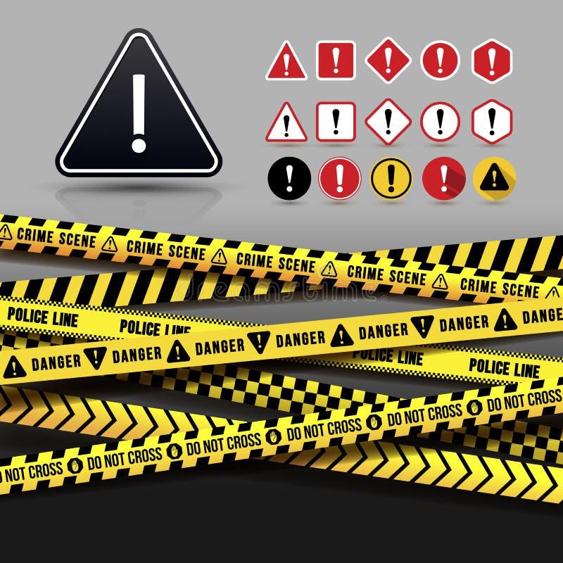 Koloru żółtego I czerni ostrożności taśma, Bezszwowe granicy Set niebezpieczeństwo Ostrzegawcza ikona P?aski projekt r?wnie? zwr? ilustracja wektor