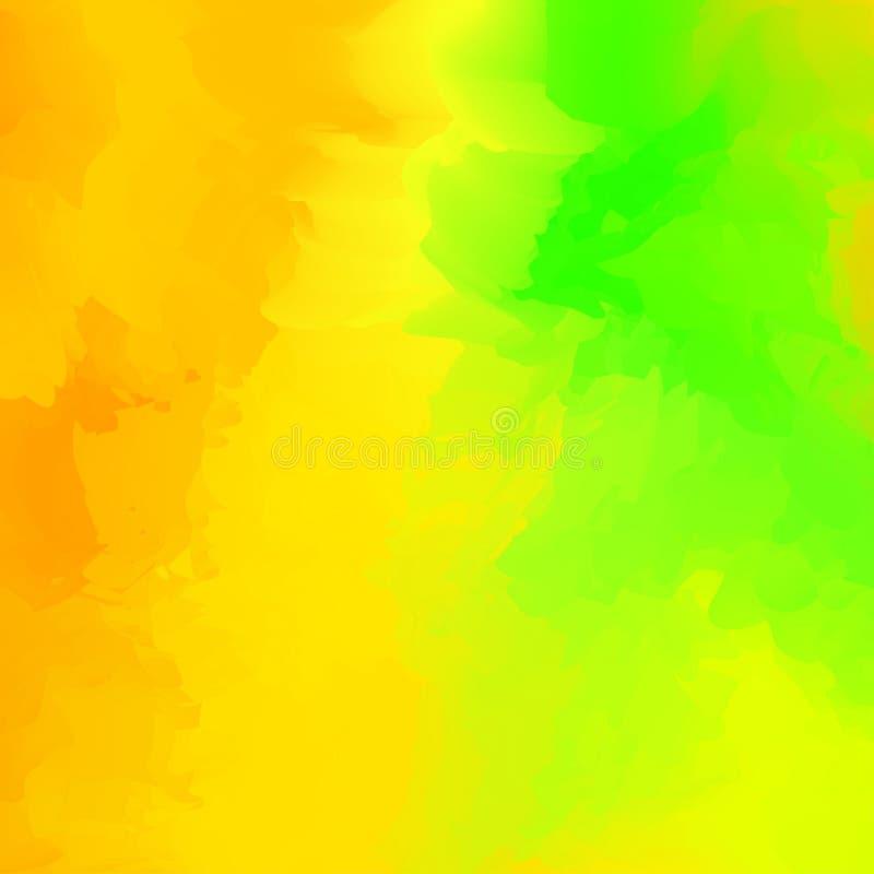 Koloru żółtego i zieleni abstrakcjonistyczny kolorowy mieszany dla tła, akwareli plamy maluje dla karcianej sztandar reklamy, szt royalty ilustracja