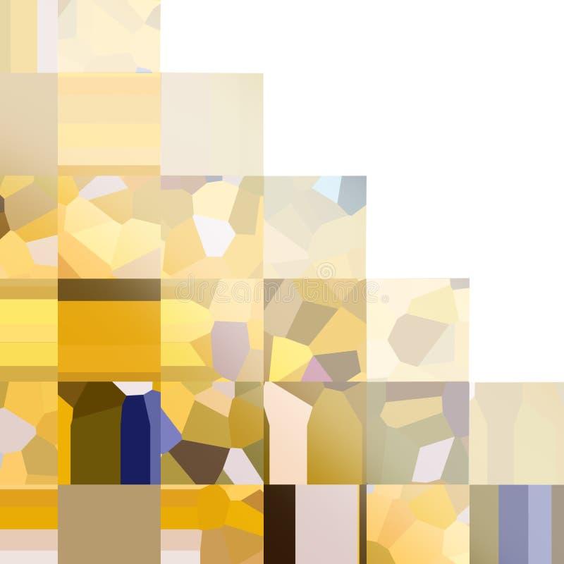 Koloru żółtego kwadratowy w kratkę wzór Mozaika geometryczni kształty Barwioni wieloboki Abstrakcjonistyczny tło z pustą przestrz ilustracja wektor