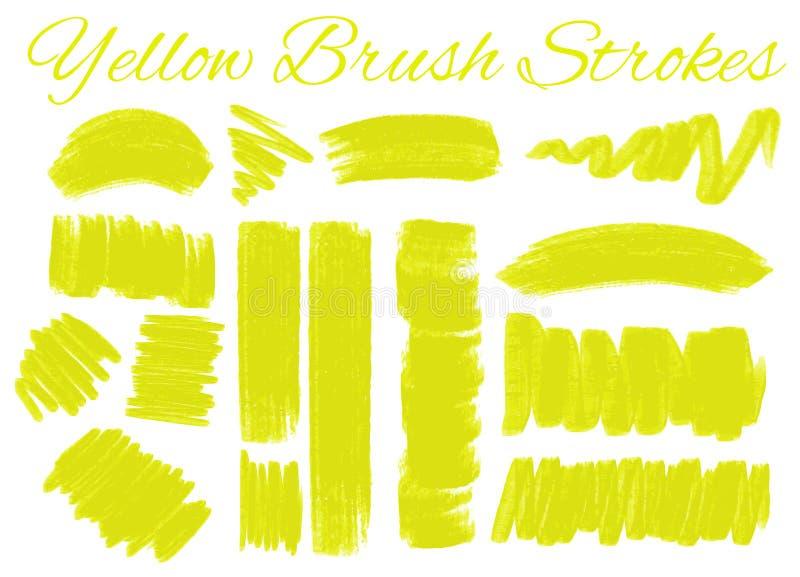 Koloru żółtego muśnięcia uderzenia na białym tle ilustracji