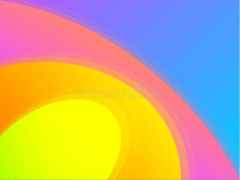 Koloru żółtego, pomarańcze, menchii i błękita gradientów perspektywa, okrąża abstrakcjonistycznego tło royalty ilustracja