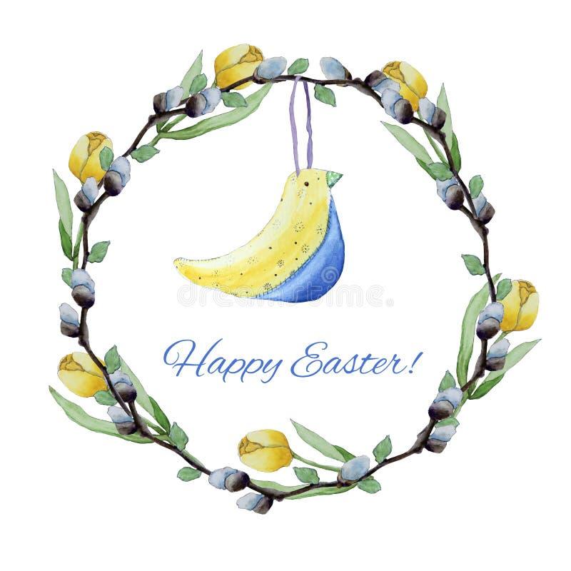 Koloru żółtego ptasi i wierzba zabawkarski tulipanów wianek royalty ilustracja