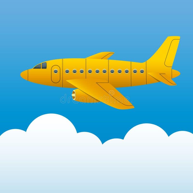 Koloru żółtego samolot na tle niebieskie niebo i biel chmurnieje Kreskówka styl wektor ilustracji
