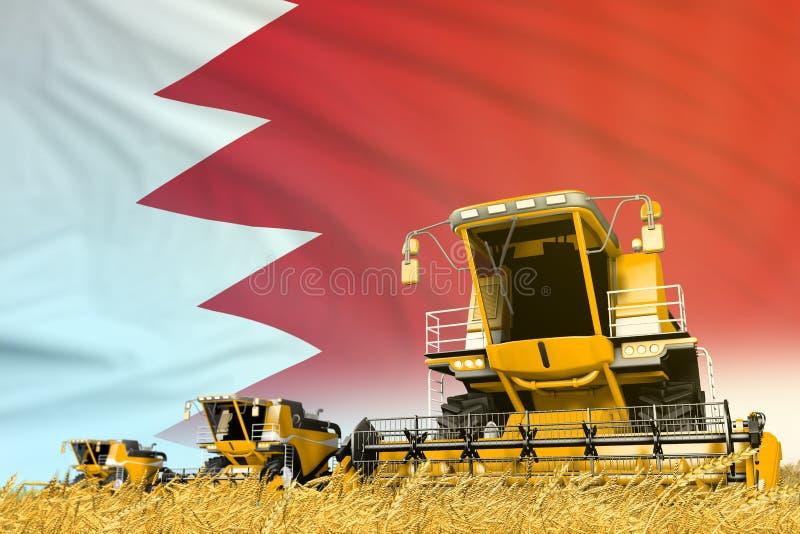 Koloru żółtego syndykata rolny rolniczy żniwiarz na polu z Bahrajn flagi tłem, przemysłu spożywczego pojęcie - przemysłowy 3D fotografia royalty free