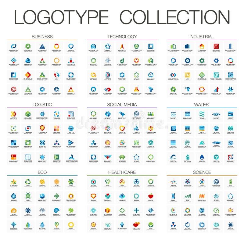 Koloru abstrakcjonistyczny logo ustawiający dla biznesowej firmy Korporacyjnej tożsamości projekta elementy ilustracja wektor