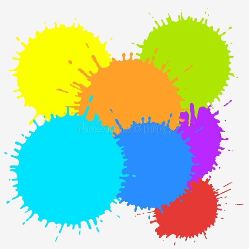 Koloru atramentu kleksy odizolowywający na białym tle Kolorowa wektorowa ilustracja farb pluśnięcia Stubarwni pluśnięcie elementy ilustracji