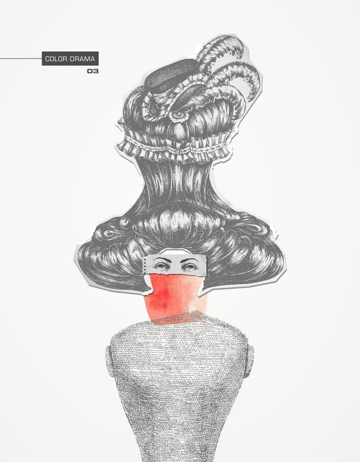 Koloru dramat 03 kolaż royalty ilustracja