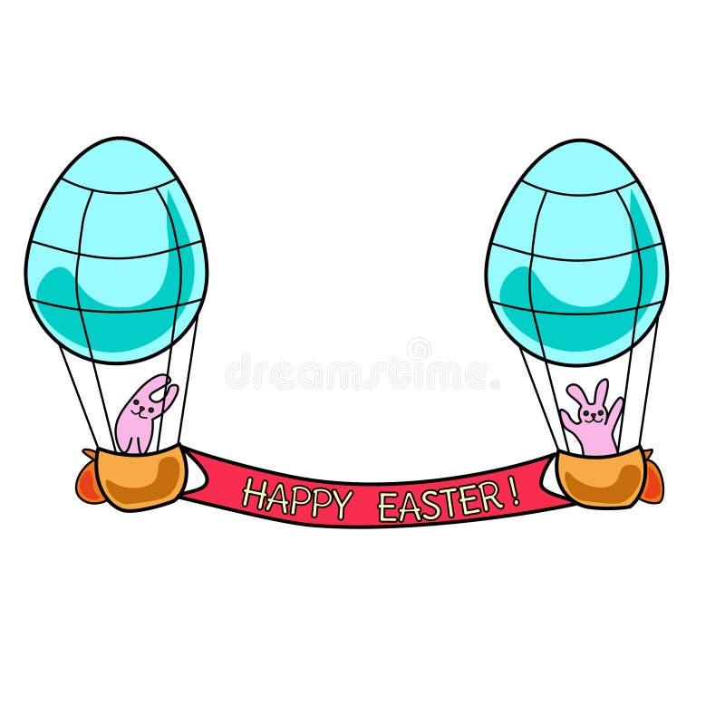 Koloru Easter aeronauty królik Kolorystyki książki strona dla dorosłych i dzieciaków Wielkanocna o temacie wektorowa ilustracja d ilustracja wektor