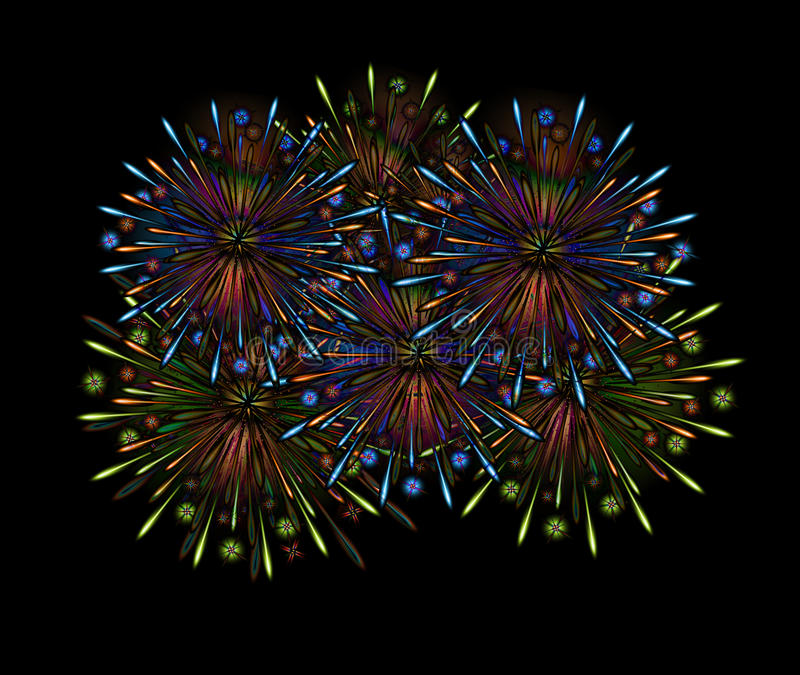 koloru fajerwerków noc ilustracji
