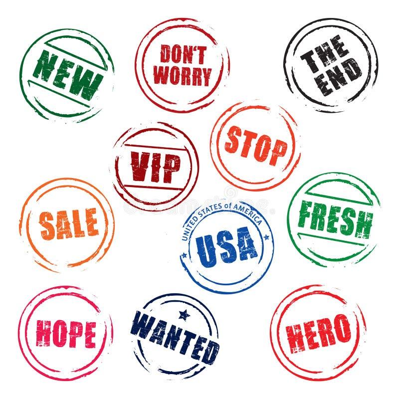Koloru grunge znaczki ZATRZYMUJĄ, BEZPŁATNY, sprzedaż, usa, NOWY, nadzieja royalty ilustracja