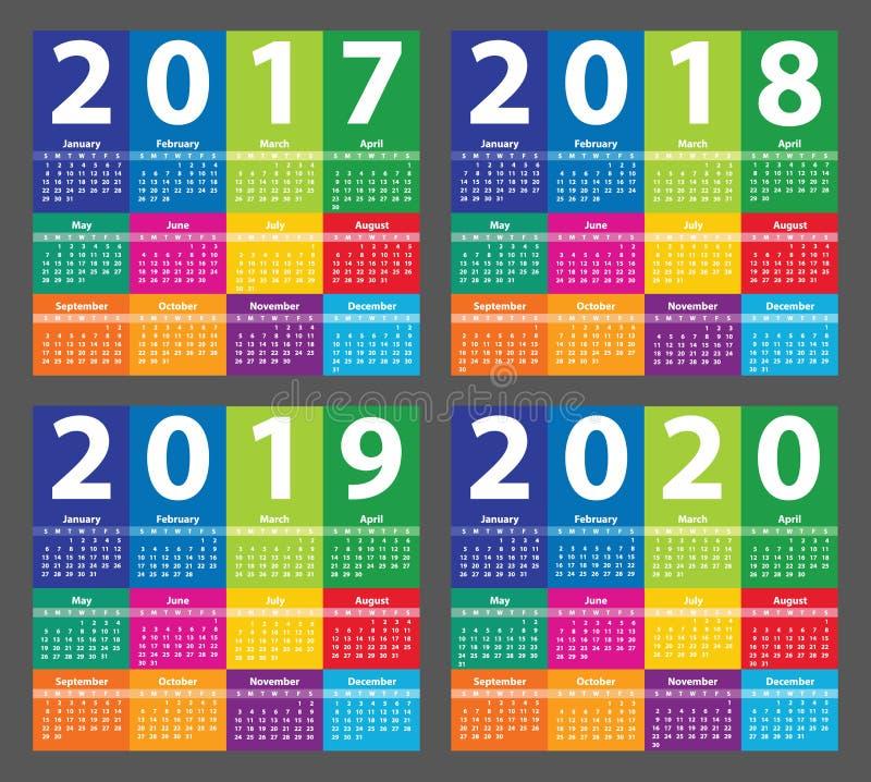 Koloru kalendarz 2017 zaczynając od Niedziela ilustracja wektor