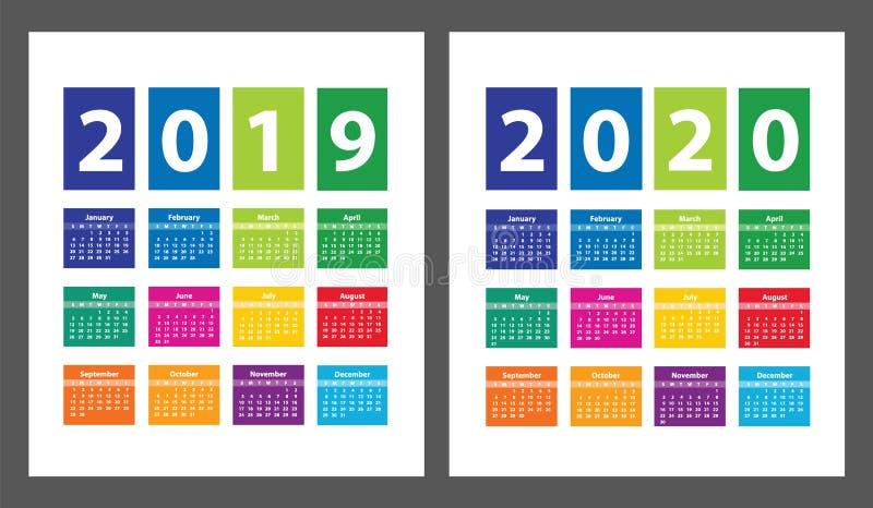 Koloru kalendarz 2019, 2020 zaczynając od Niedziela i wektor ilustracji