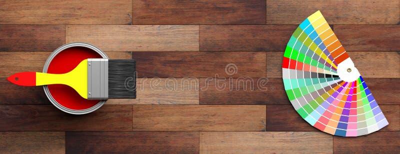 Koloru katalog i farby muśnięcie na drewnianym tle ilustracja 3 d royalty ilustracja