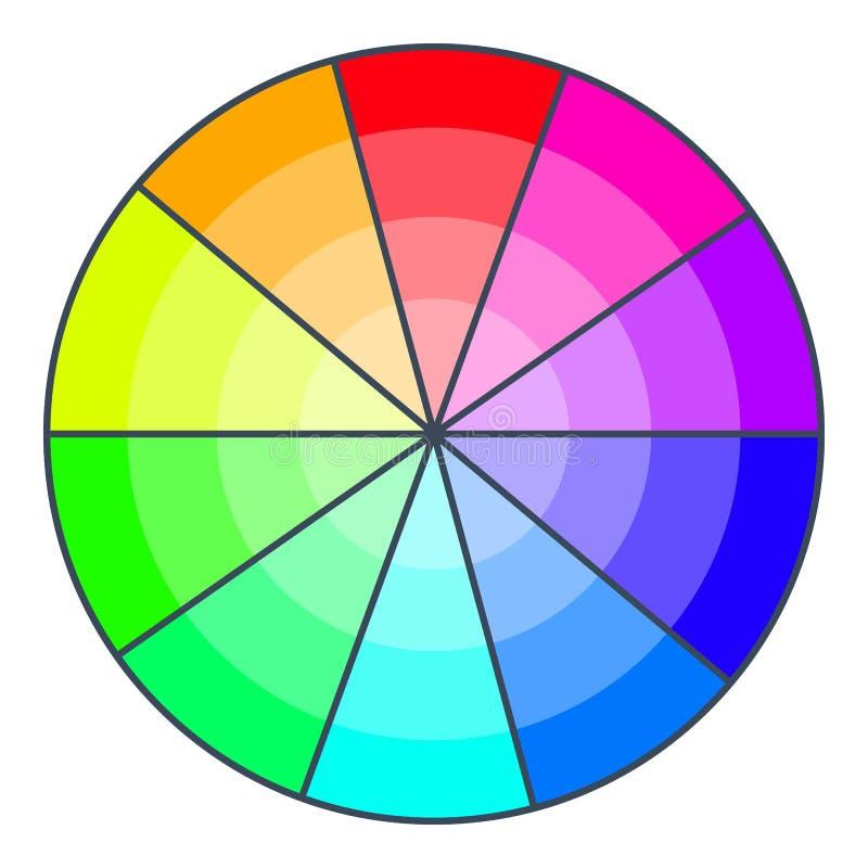 Koloru koło z cieniami ikona, kreskówka styl ilustracji