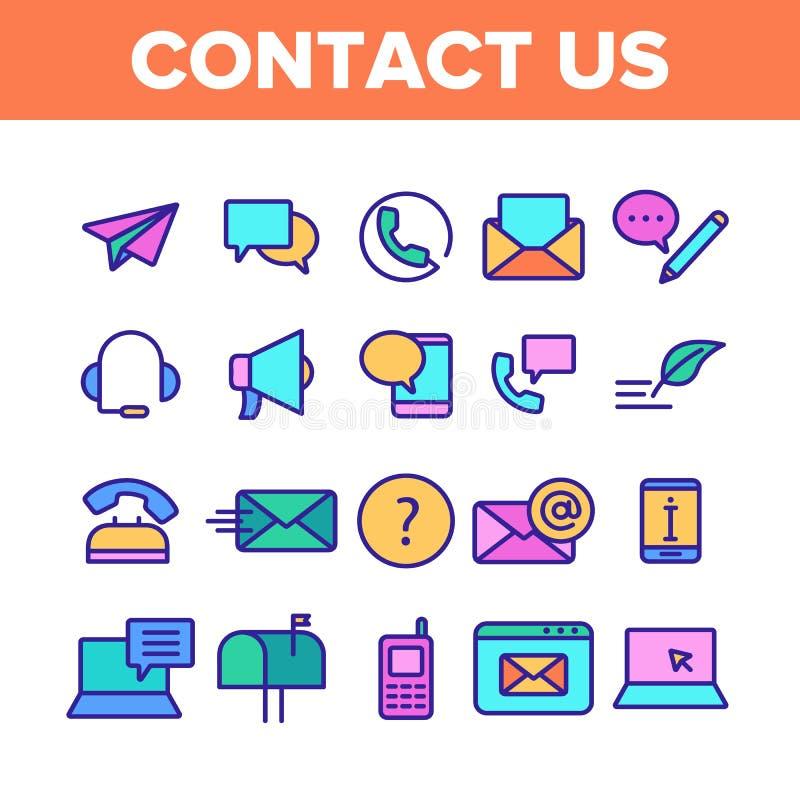 Koloru kontakt My, centrum telefoniczne Wektorowe Liniowe ikony Ustawiać ilustracja wektor