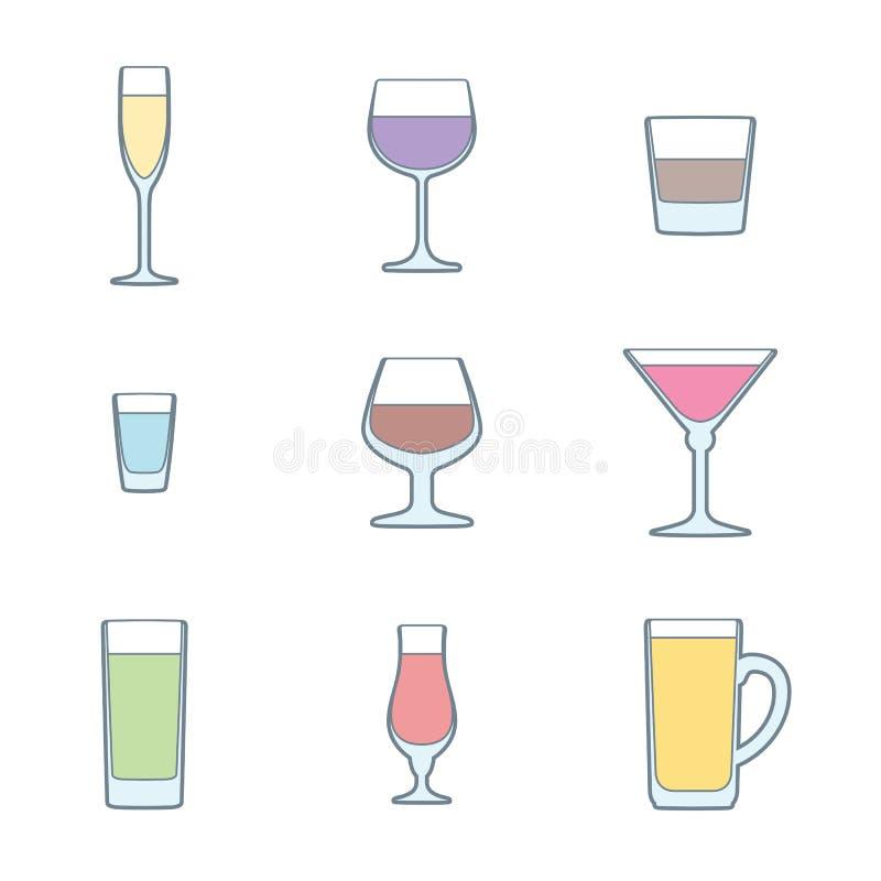 Koloru konturu alkoholu szkieł ikony set ilustracja wektor