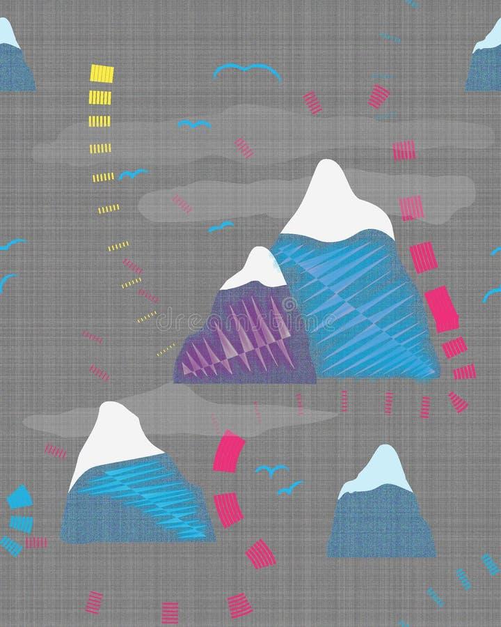 Koloru krajobraz z górami i ptakami ilustracja wektor