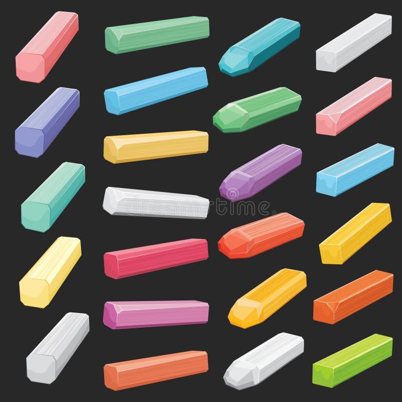Koloru kredowy pastel wtyka, artysta dostaw wektor ustawiający odizolowywającym ilustracji