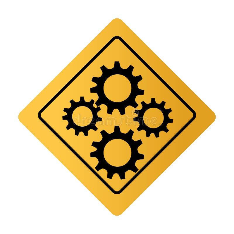 Koloru kwadratowy drogowy znak z przekładni kołami ilustracja wektor