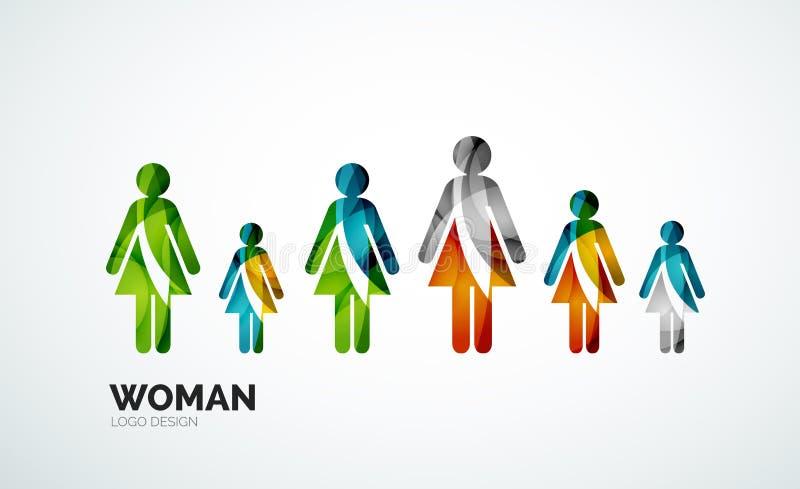 Koloru loga kobiety abstrakcjonistyczna ikona royalty ilustracja