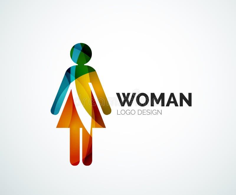 Koloru loga kobiety abstrakcjonistyczna ikona ilustracja wektor
