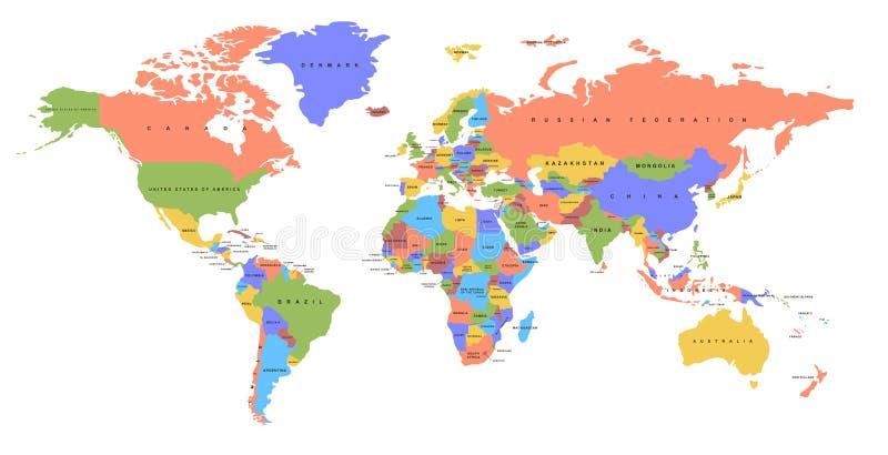 koloru mapy świat e mapa polityczny u royalty ilustracja