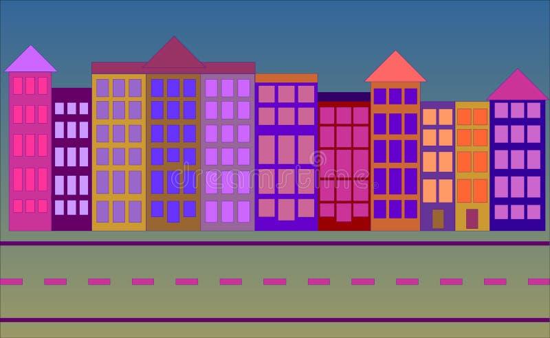 Koloru miasteczka ulicy scena ilustracja wektor