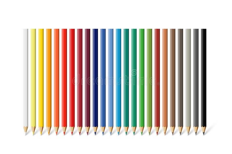 Koloru ołówka set Wektoru koloru różni ołówki odizolowywający na białym tle royalty ilustracja