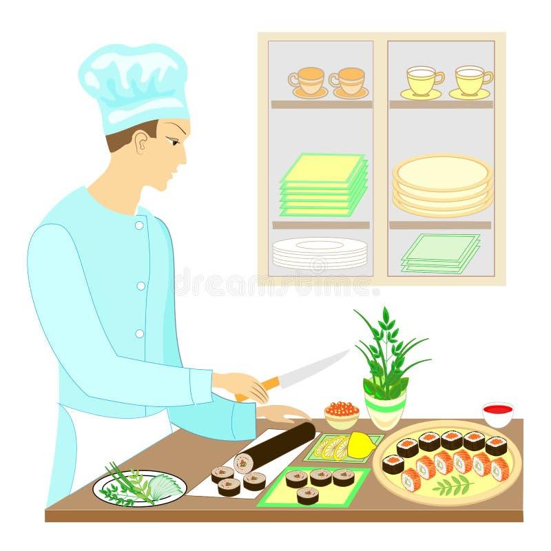 Koloru obrazek Mężczyzny kucharz, przygotowywa wyśmienicie naczynia Japońska krajowa kuchnia Ciie noże Na stole na pięknym ilustracja wektor