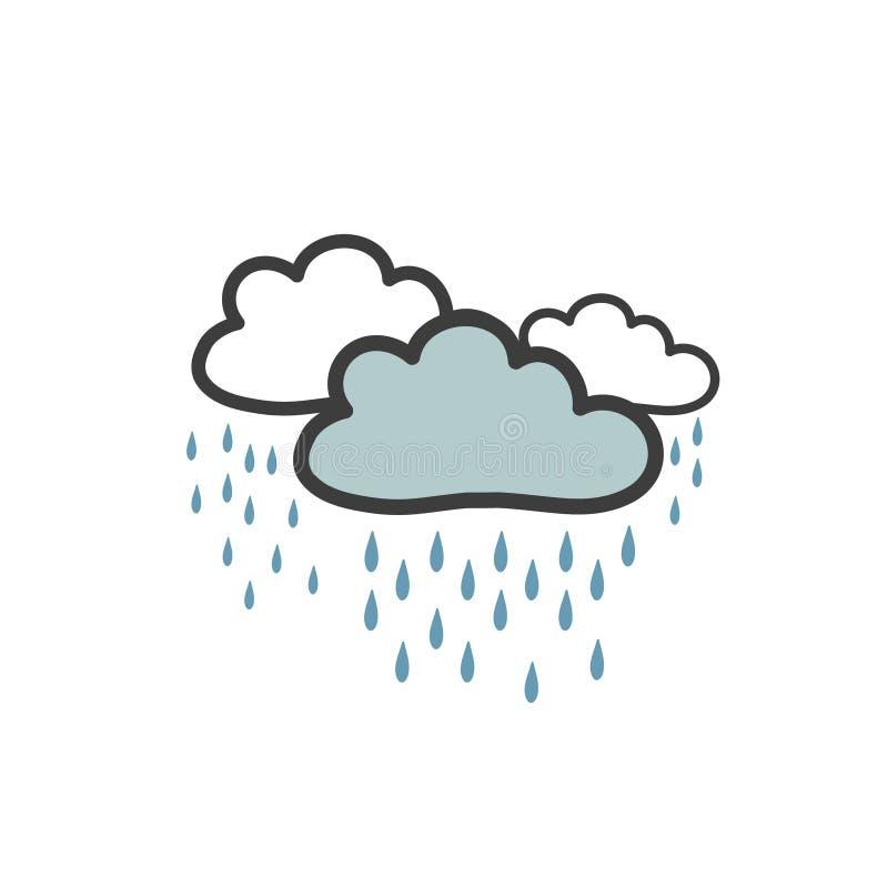 Koloru obrazek szarość chmurnieje z ulewnym deszczem Symbol pogoda Wektorowy rysunek w doodle stylu ręcznie ilustracja wektor