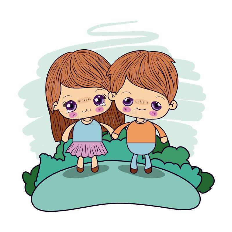 Koloru obrazka pary kawaii żartuje dziewczyny cryin i chłopiec excited brać ręki w lesie ilustracja wektor