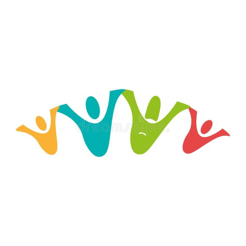 Koloru piktogram z rodzinną jednością royalty ilustracja