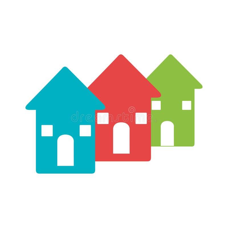 Koloru piktogram z setem domy ilustracja wektor