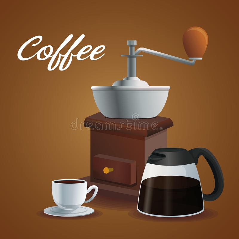 Koloru plakatowy śrutowanie z korbą i szklanym słojem z porcelany filiżanką w naczyniu z kawowym napojem ilustracji