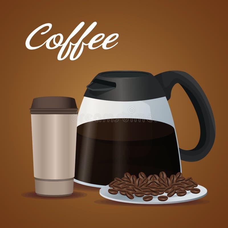Koloru plakatowy szklany słój kawa z rękojeścią, rozporządzalny dla gorących napojów z fasolami i ilustracja wektor