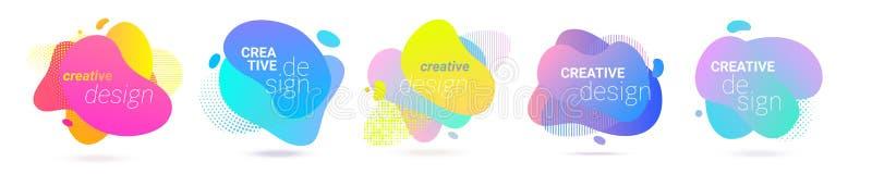 Koloru pluśnięcia gradientowy abstrakcjonistyczny ciekły kształt, wektorowy halftone wzoru tła projekt Rzadkopłynny koloru gradie ilustracja wektor