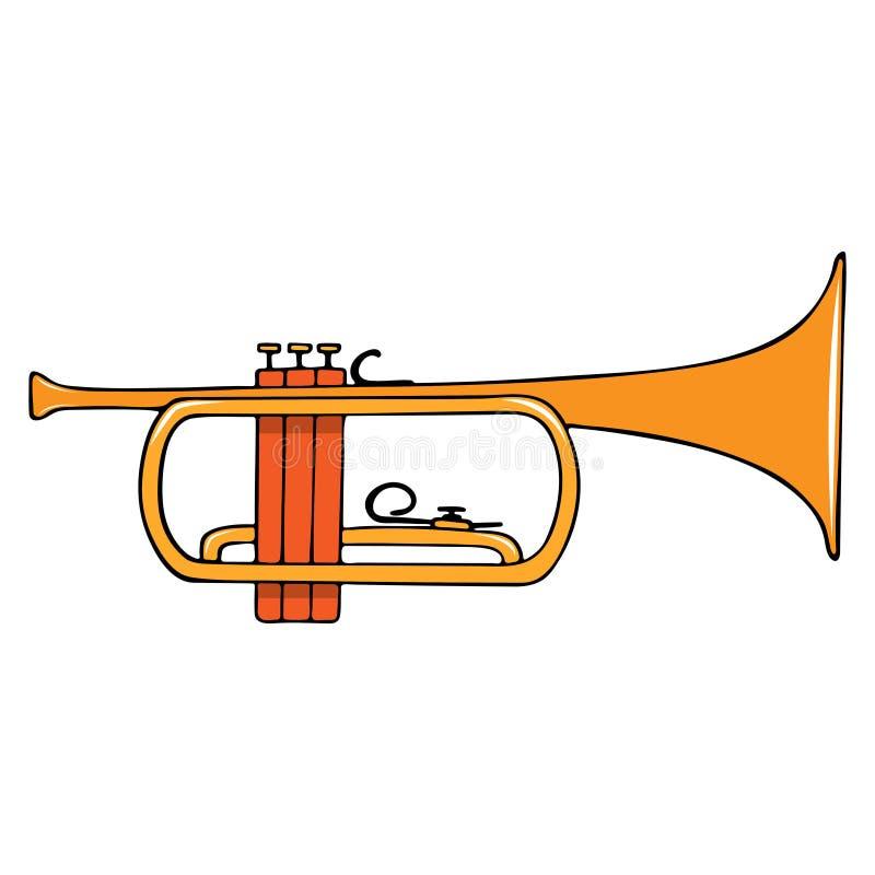 Koloru pociągany ręcznie instrument muzyczny - trąbka ilustracja wektor