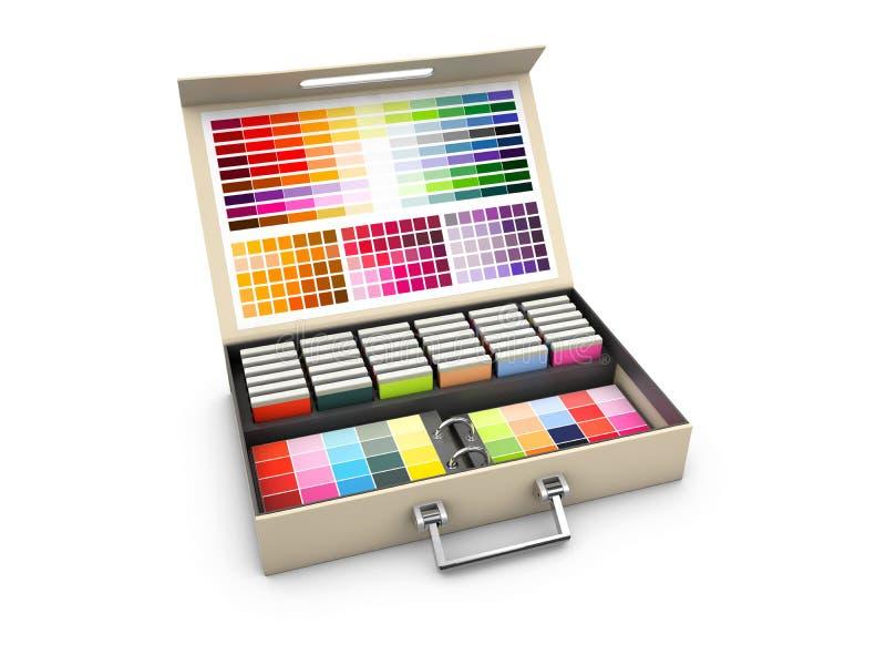 Koloru pudełka palety przewdonik na białym tle, 3d ilustracja obrazy royalty free