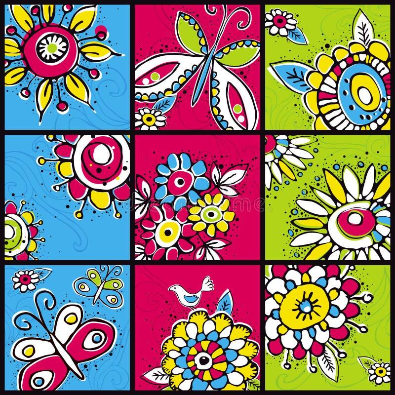 koloru remisu kwiatów ręki kwadraty ilustracji