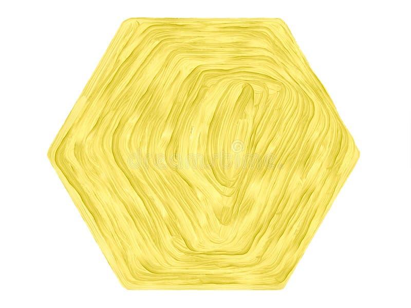 Koloru rocznika akwareli sześciokąta loga pastelowy abstrakcjonistyczny tło z barwionymi cieniami żółty kolor ilustracja wektor