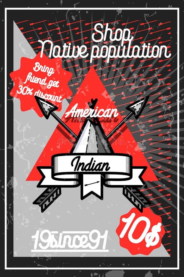 Koloru rocznika amerykańsko-indiański plakat royalty ilustracja