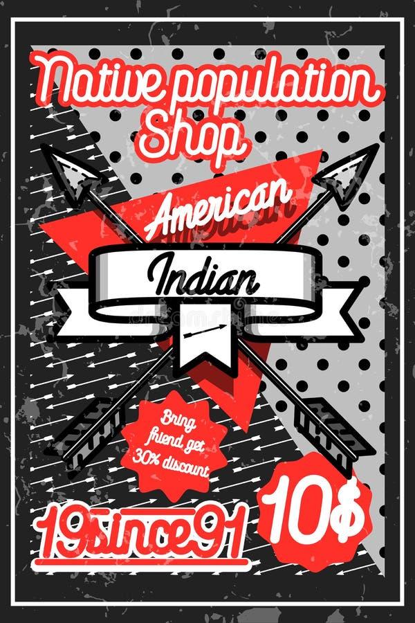 Koloru rocznika amerykańsko-indiański plakat ilustracji