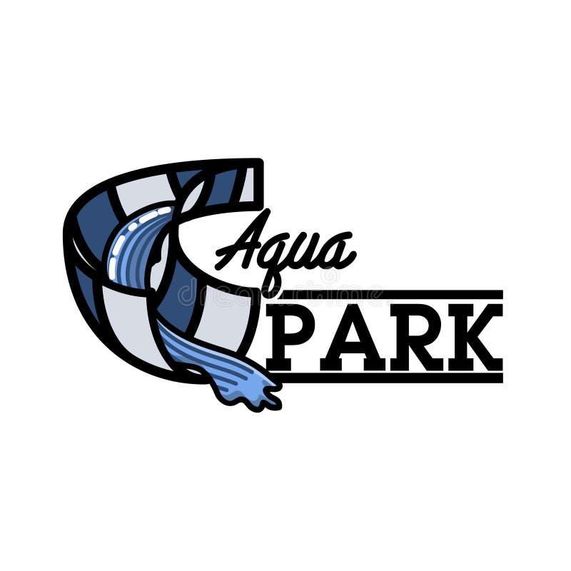 Koloru rocznika aquapark emblemat ilustracji