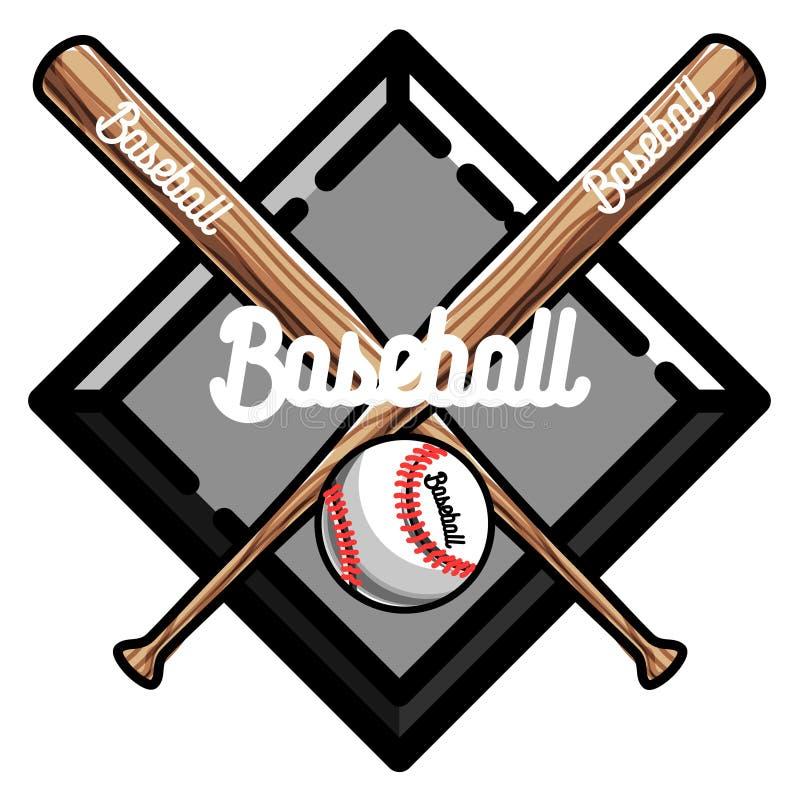 Koloru rocznika baseballa emblemat ilustracja wektor