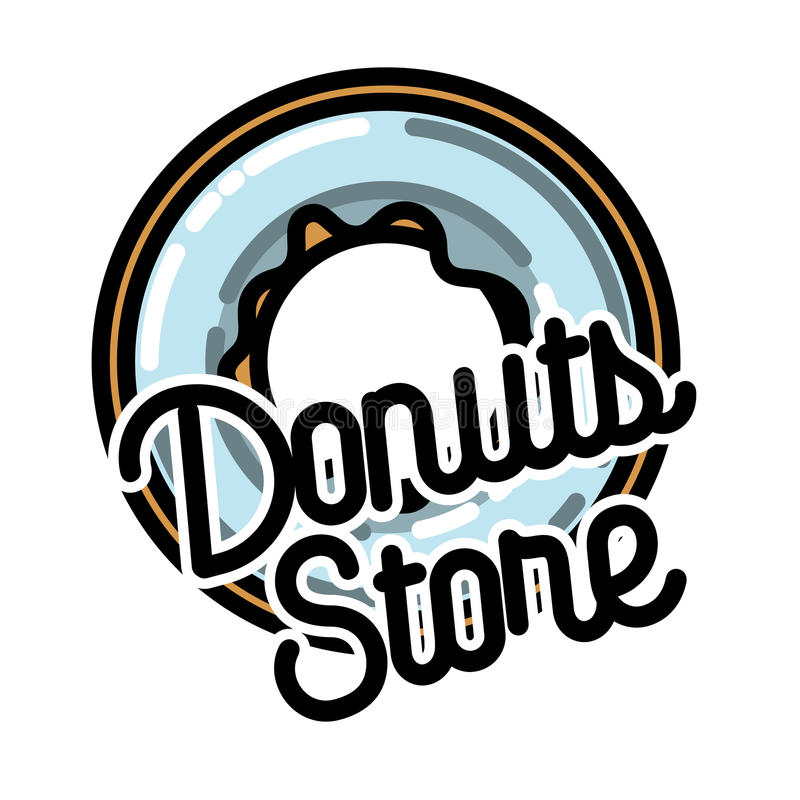 Koloru rocznika donuts sklepu emblemat ilustracji