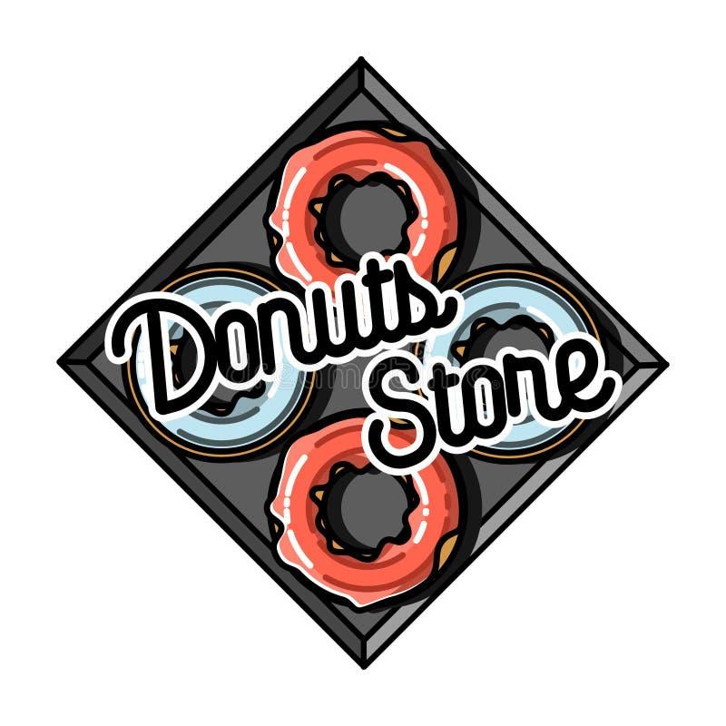 Koloru rocznika donuts sklepu emblemat royalty ilustracja