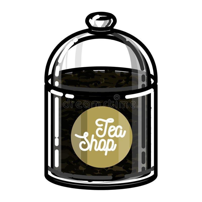 Koloru rocznika herbaty sklepu emblemat royalty ilustracja