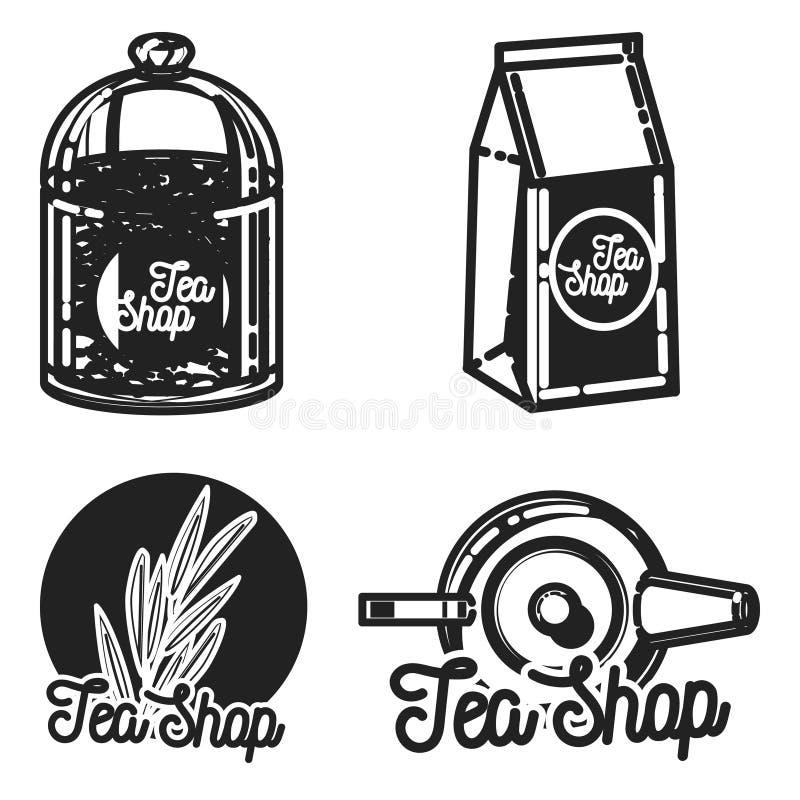 Koloru rocznika herbaty sklepu emblematy royalty ilustracja